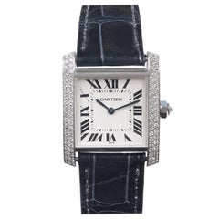 Cartier Tank Francaise White Gold and Diamond Mid Size Quartz Wristwatch