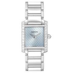 Cartier Tank Francaise White Gold Blue Dial Diamond Ladies Watch 2403