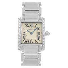 Cartier Tank Francaise White Gold Diamond Quartz Ladies Watch WE1002S3 Mint B/P