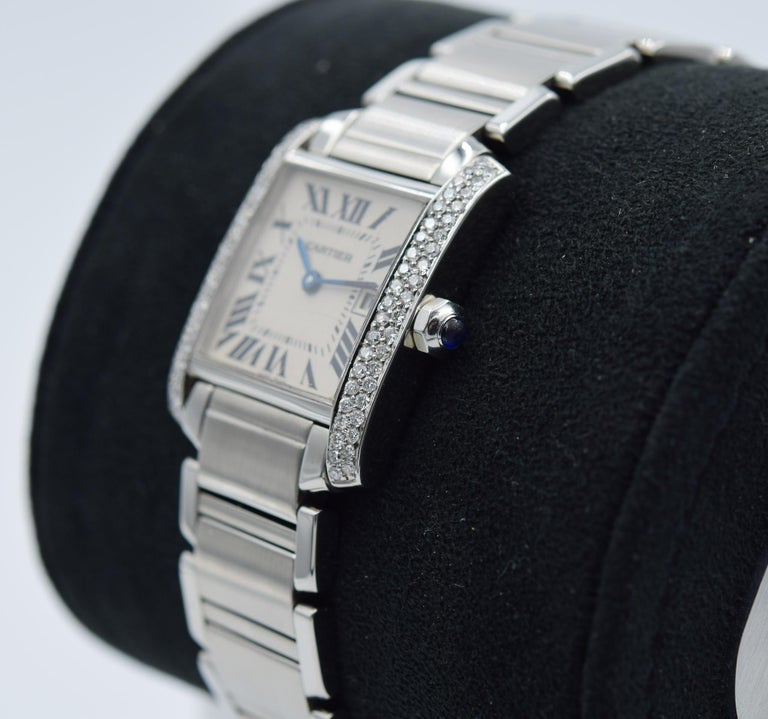 Cartier Tank Francaise, WSTA0005, Stainless Steel Custom Diamond Bezel In Good Condition For Sale In Carmel, IN