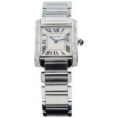 Cartier Tank Francaise, WSTA0005, Stainless Steel Custom Diamond Bezel