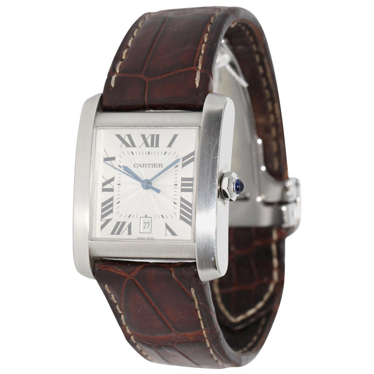 Cartier Tank Française XL Automatic Wristwatch, Ref. 2564, Stainless Steel For Sale