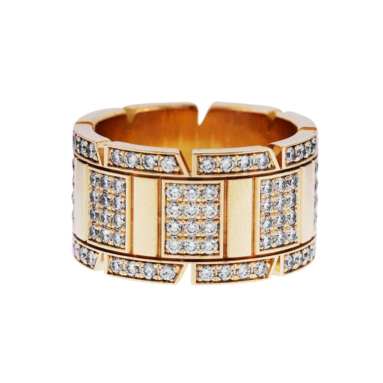 Cartier Tank Francaise Yellow Gold and Diamond Band Ring In Excellent Condition For Sale In Boca Raton, FL
