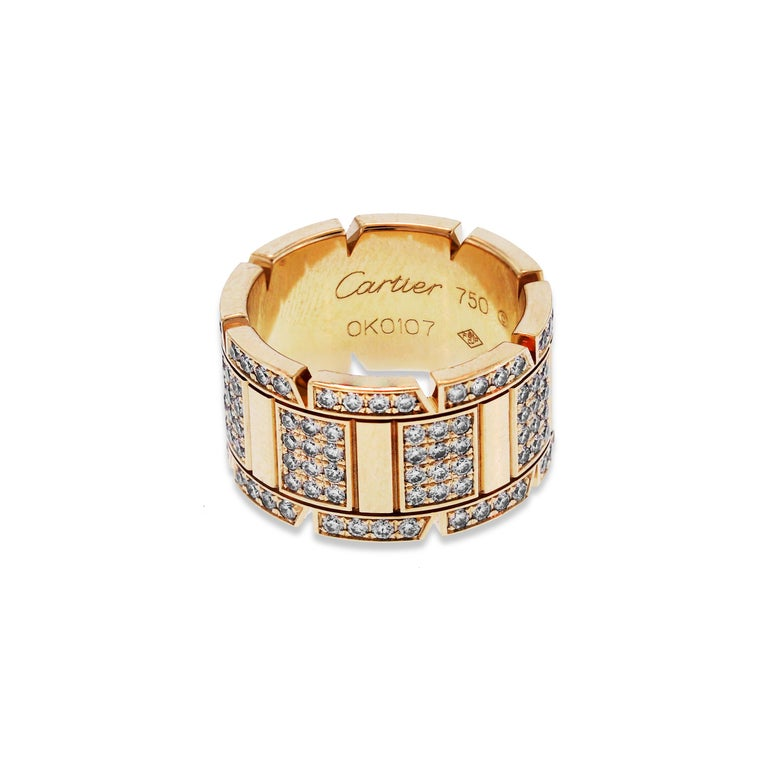 Women's Cartier Tank Francaise Yellow Gold and Diamond Band Ring For Sale