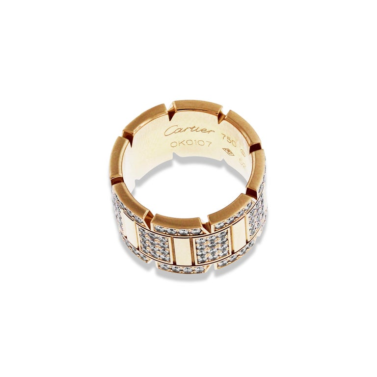 Cartier Tank Francaise Yellow Gold and Diamond Band Ring For Sale 1