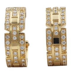 Cartier Tank Française Yellow Gold and Diamond Earrings