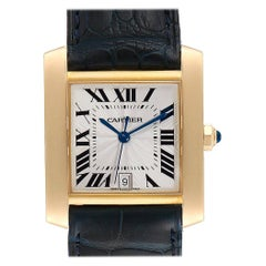 Cartier Tank Francaise Yellow Gold Black Strap Men's Watch W5000156