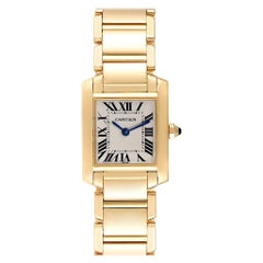 Cartier Tank Francaise Yellow Gold Blue Hands Ladies Watch W50002N2