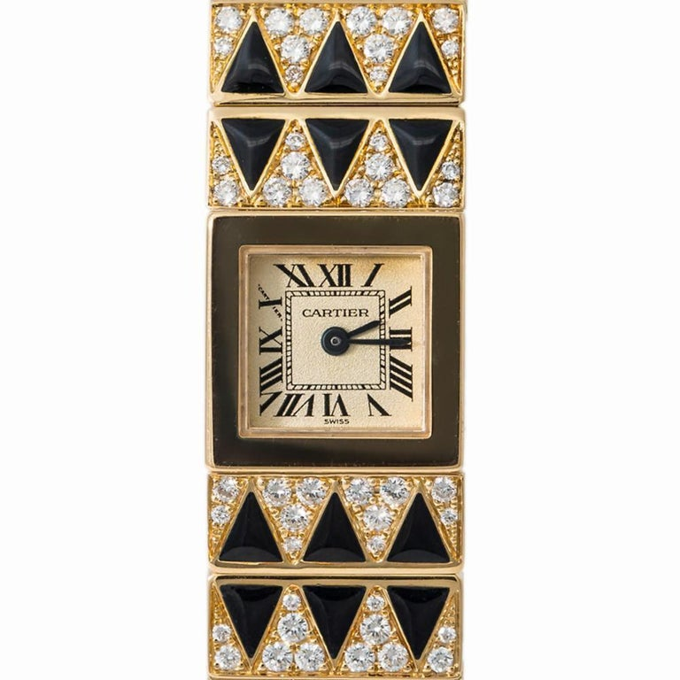 Cartier Tank Lingot 1705 Quartz Women's Off-White Dial Watch 18 Karat YG For Sale 1
