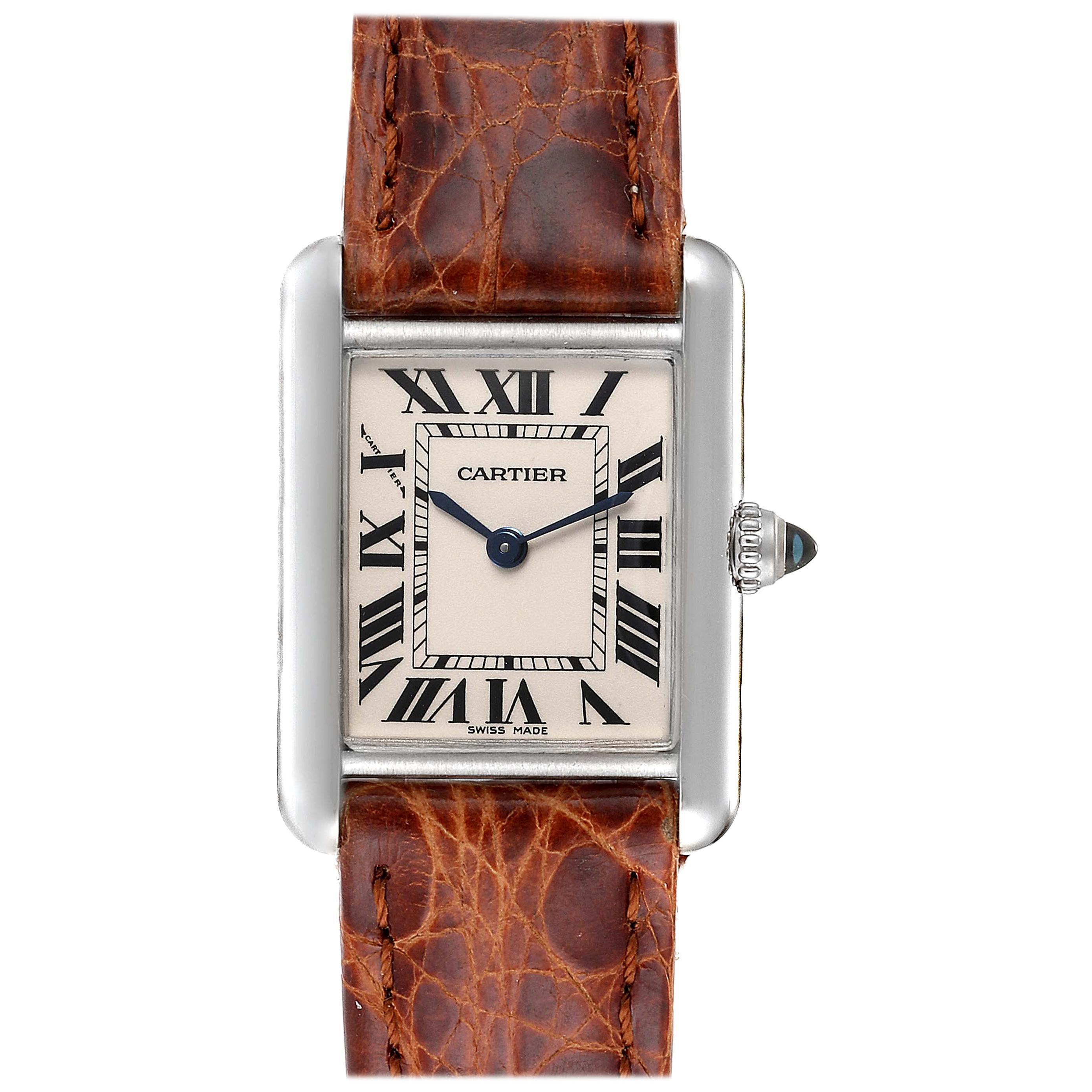 Cartier Tank Louis 18 Karat White Gold Brown Strap Ladies Watch W1541056