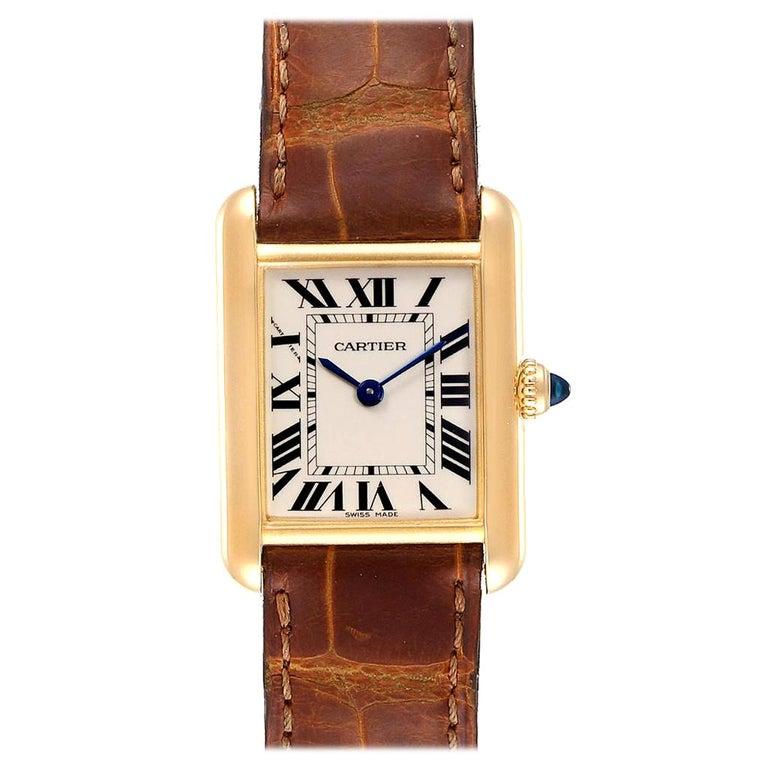 Cartier Tank Louis 18 Karat Yellow Gold Brown Strap Ladies Watch W1529856 For Sale