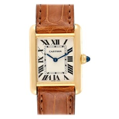 Cartier Tank Louis 18 Karat Yellow Gold Brown Strap Ladies Watch W1529856