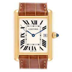 Cartier Tank Louis 18 Karat Yellow Gold Men's Watch W1529756 Box Papers