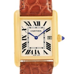 Cartier Tank Louis 18 Karat Yellow Gold White Strap Quartz Watch W1529756