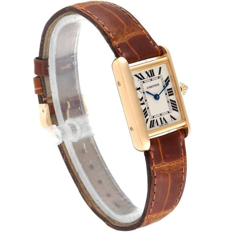 Cartier Tank Louis 18 Karat Yellow Gold Brown Strap Ladies Watch W1529856 In Excellent Condition For Sale In Atlanta, GA