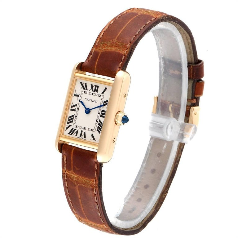 Women's Cartier Tank Louis 18 Karat Yellow Gold Brown Strap Ladies Watch W1529856 For Sale