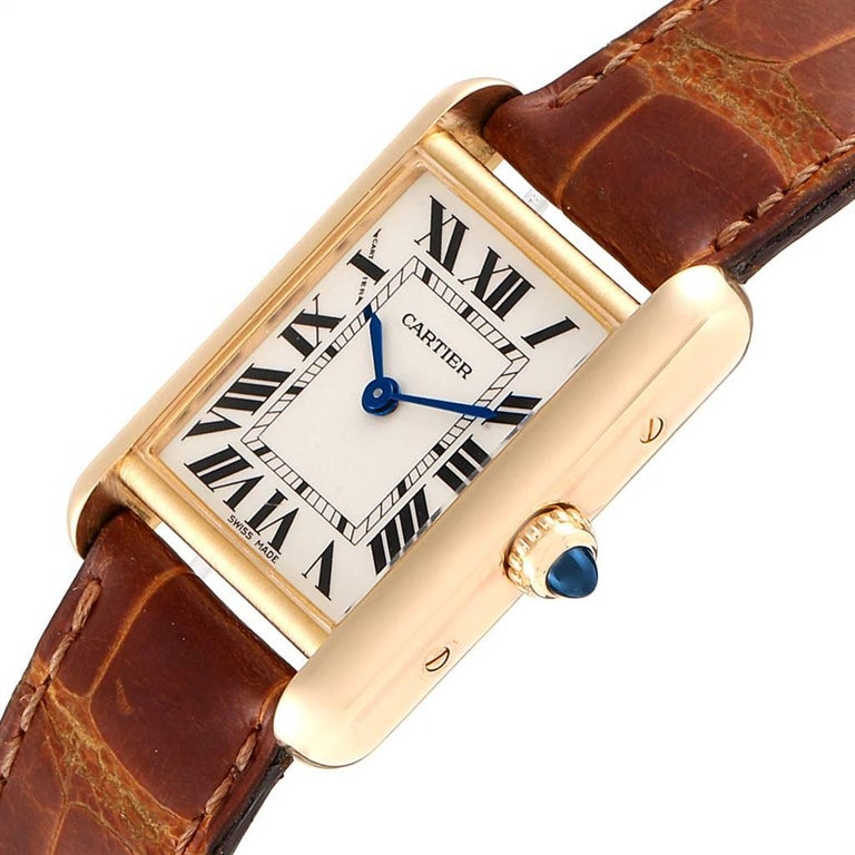 Cartier Tank Louis 18 Karat Yellow Gold Brown Strap Ladies Watch W1529856 For Sale 1