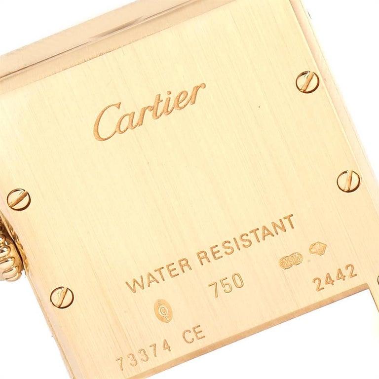 Cartier Tank Louis 18 Karat Yellow Gold Brown Strap Ladies Watch W1529856 For Sale 2