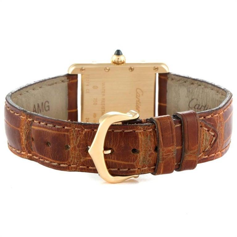 Cartier Tank Louis 18 Karat Yellow Gold Brown Strap Ladies Watch W1529856 For Sale 3