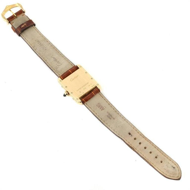 Cartier Tank Louis 18 Karat Yellow Gold Brown Strap Ladies Watch W1529856 For Sale 4