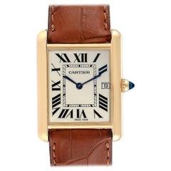 Cartier Tank Louis 18 Karat Yellow Gold Brown Strap Men's Watch W1529756