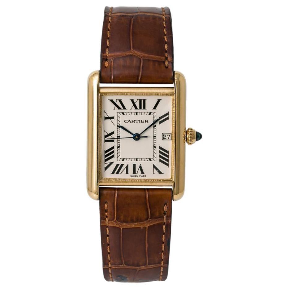 Cartier Tank Louis 2441 Men's Quartz Watch 18 Karat Yellow Gold off White Dial