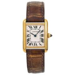 Cartier Tank Louis 2442 W1529856 Womens Quartz Watch Cream Dial 18 Karat YG