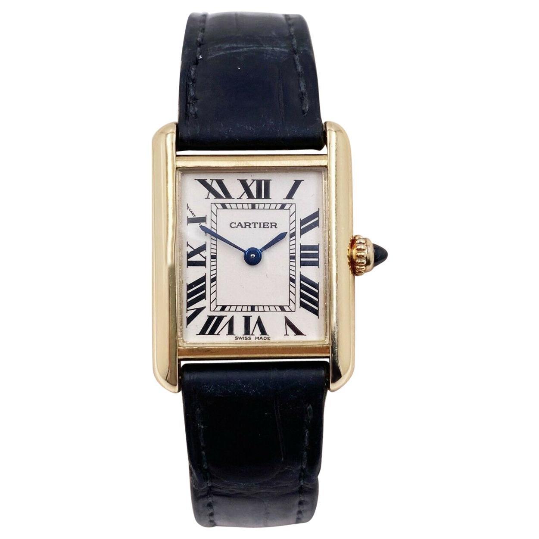 Cartier Tank Louis Cartier 2442 W1529856 18 Karat Gold Leather Band Box Papers