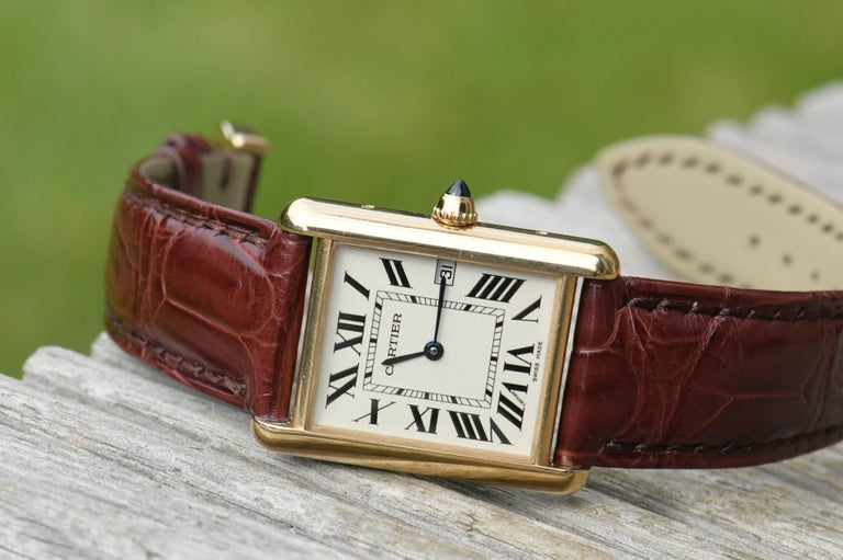 Cabochon Cartier Tank Louis Cartier Large Model W1529756 with Box and Paper