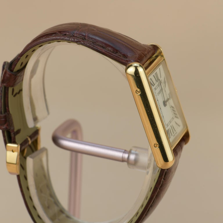Cartier Tank Louis Cartier Large Model W1529756 with Box and Paper In Excellent Condition In Banbury, GB