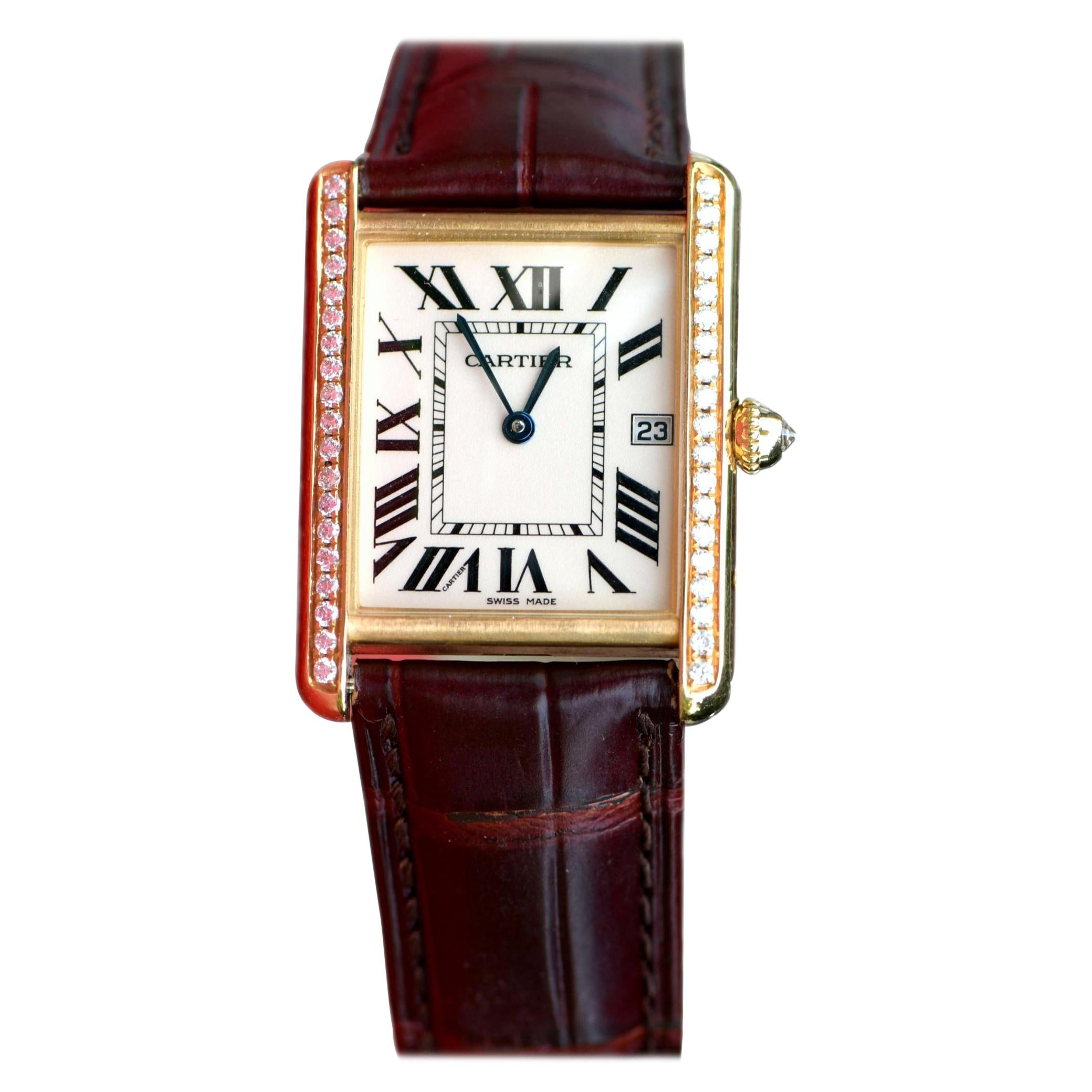 Cartier Tank Louis Large 18k Yellow Gold Leather Strap Watch W1529756