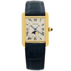 Cartier Tank Louis Moon Phase 18K Gold Silver Dial Quartz Lady Watch W1500800
