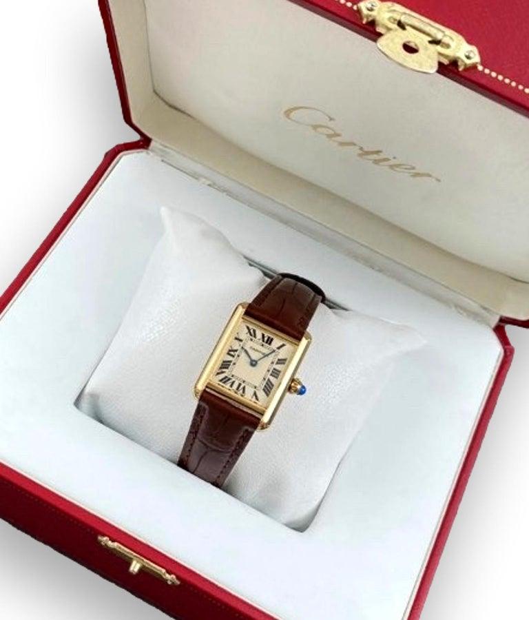 Cabochon Cartier Tank Louis Small Model 18k Yellow Gold Watch W1529856
