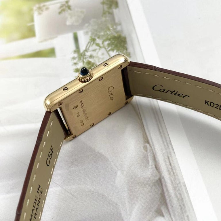 Cartier Tank Louis Small Model 18k Yellow Gold Watch W1529856 In Excellent Condition In Banbury, GB