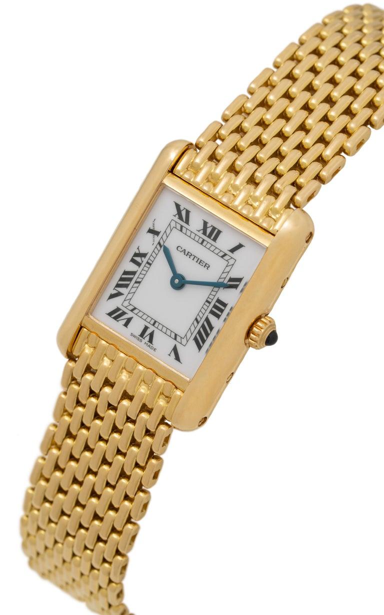 Pre-owned Cartier Tank Louis Watch 18 Karat Gold Quartz Movement 20mm x 19mm Case Fits up to a size 7