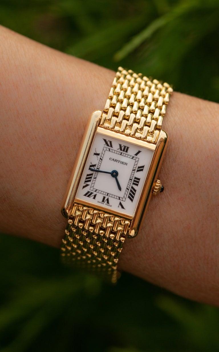 Cartier Tank Louis Watch 18 Karat Gold For Sale 4