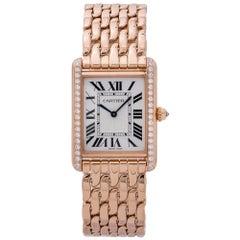 Cartier Tank Louis WJTA0024 18K Rose Factory Diamond Bezel Unisex Watch