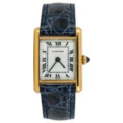 Cartier Tank Louis Womens Vintage Hand Winding Watch 18 Karat Yellow Gold