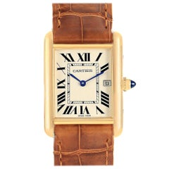 Cartier Tank Louis Yellow Gold Brown Strap Watch W1529756 Box Papers