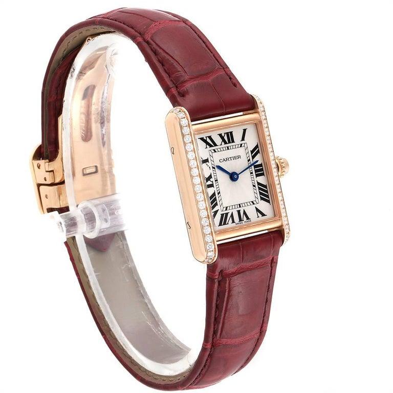 Cartier Tank Louis Yellow Gold Diamond Brown Strap Ladies Watch WJTA0010 In Excellent Condition In Atlanta, GA