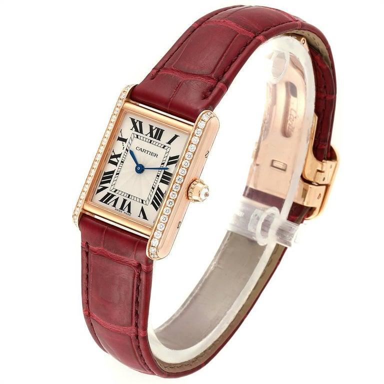 Women's Cartier Tank Louis Yellow Gold Diamond Brown Strap Ladies Watch WJTA0010