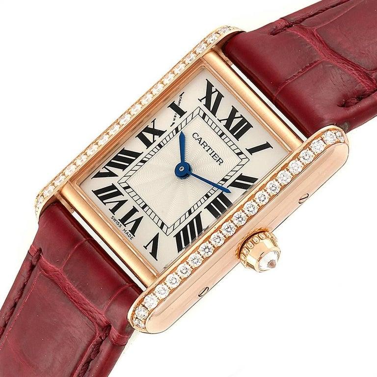 Cartier Tank Louis Yellow Gold Diamond Brown Strap Ladies Watch WJTA0010 1