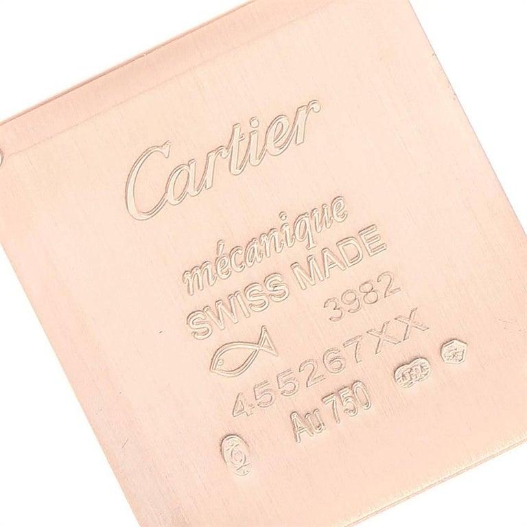 Cartier Tank Louis Yellow Gold Diamond Brown Strap Ladies Watch WJTA0010 2