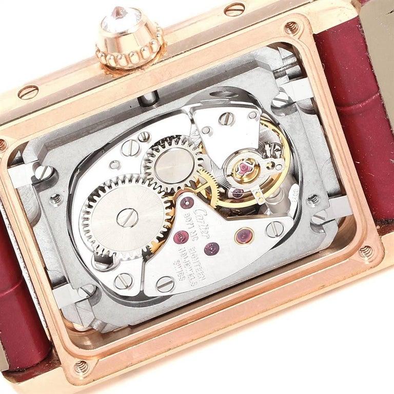 Cartier Tank Louis Yellow Gold Diamond Brown Strap Ladies Watch WJTA0010 3