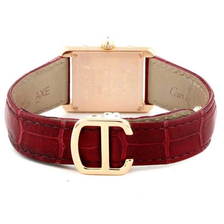 Cartier Tank Louis Yellow Gold Diamond Brown Strap Ladies Watch WJTA0010 4