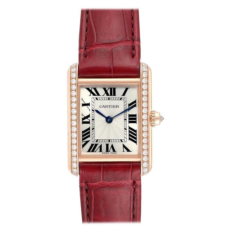Cartier Tank Louis Yellow Gold Diamond Brown Strap Ladies Watch WJTA0010