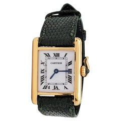 Cartier 'Tank Louis' Yellow Gold Leather Strap Watch