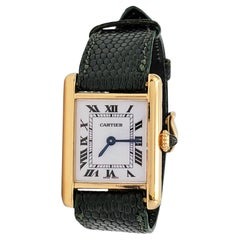 Cartier 'Tank Louis' Yellow Gold Leather Strap Watch, Medium Model