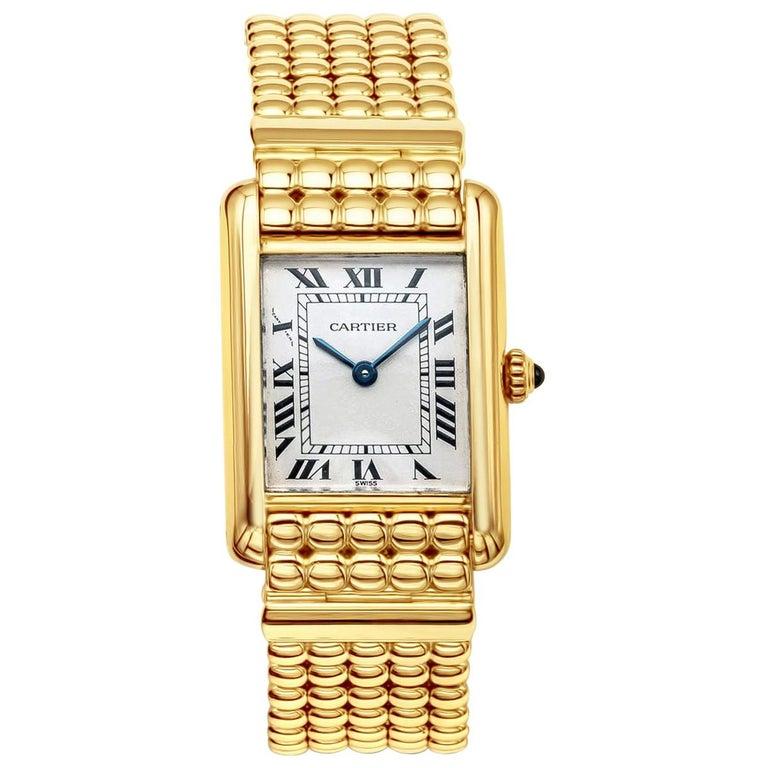 Cartier Tank Louis Yellow Gold Quartz Wrist Watch For Sale
