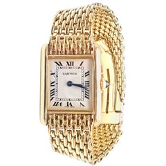 Cartier Tank Louis Yellow Gold with Bracelet Manual Wide Ladies Wristwatch